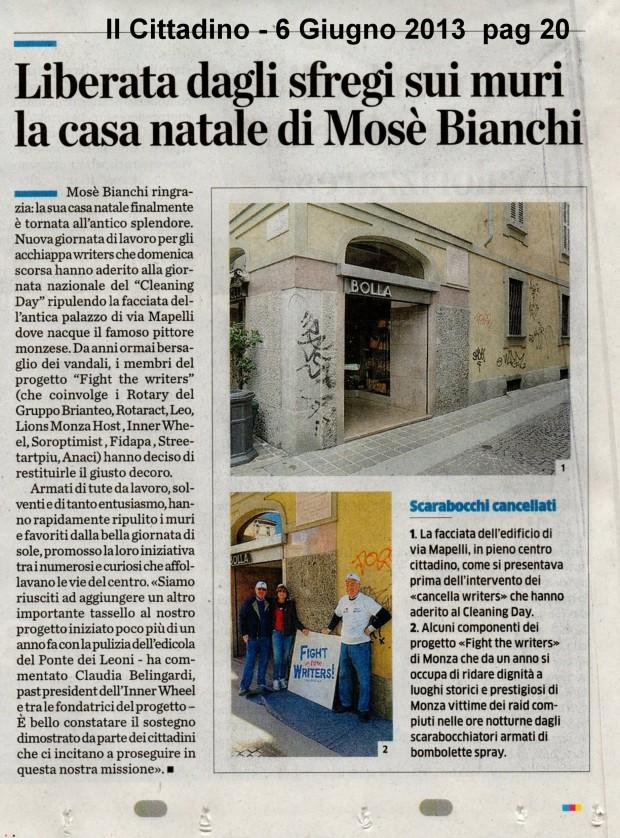 Liberata dagli sfregi sui muri la casa del Mosé Bianchi