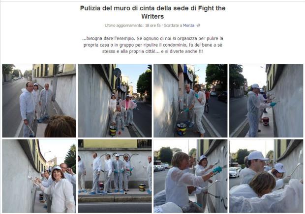 Foto pulizia muro sede Fight the Writers