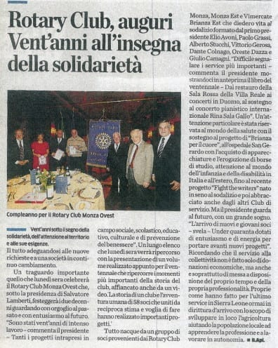 Ventennale Rotary Club articolo cittadino 15 maggio 2014