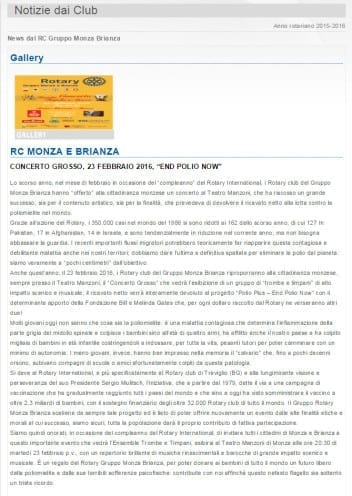 Il Concerto Grosso dei Rotary del Gruppo Monza Brianza
